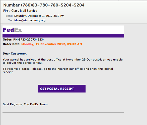 Mail and FedEx phishing